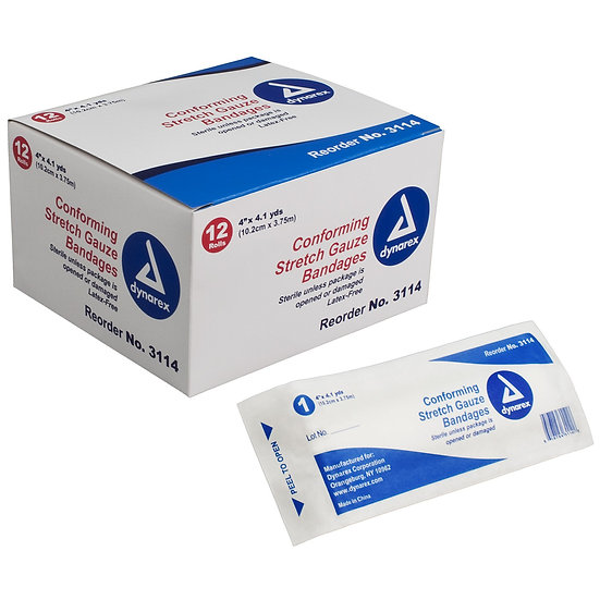 """Stretch Gauze Bandage Roll - 4"""", Sterile 12 Pack"""