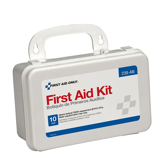 10 Unit First Aid Kit, Plastic Case 238-AN