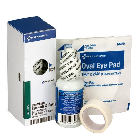 SC Refill Eyewash, 1 oz., 2 Eyepads, 1/2inchx5 yd. First Aid Tape FAE6022