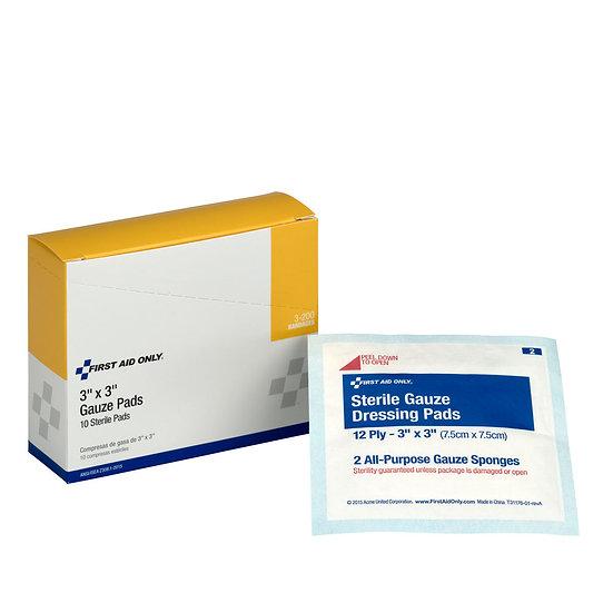 3inchx3inch Sterile Gauze Pads, 10/box