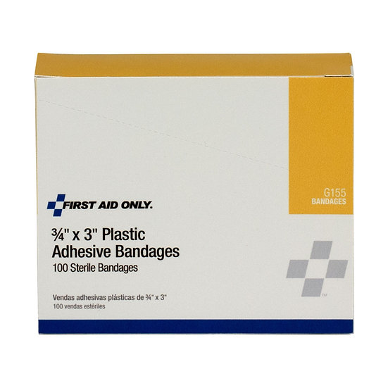 3/4inchx3inch Plastic Bandages, 100/box