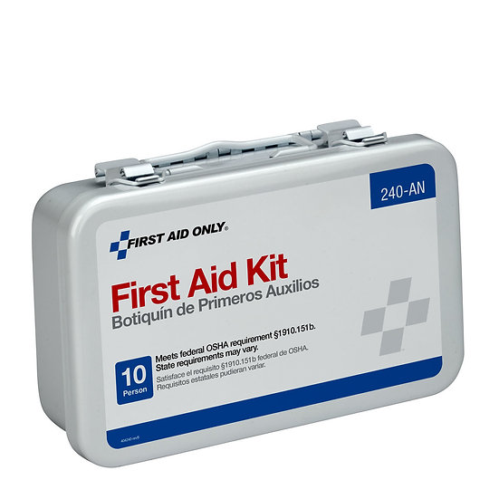 10 Unit First Aid Kit, Metal Case 240-AN