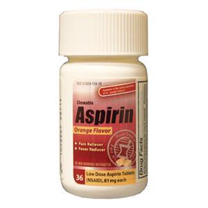 Aspirin 81mg Chewable Tablets Twist Cap Bottle Orange 36/Bt