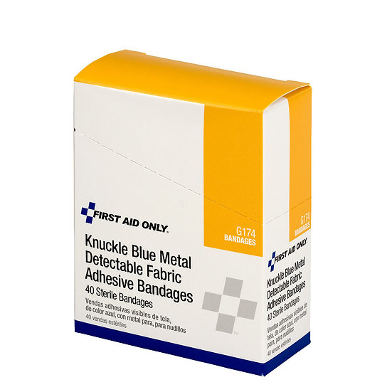 Blue Metal Detectable Fabric Knuckle Bandages, 40/box