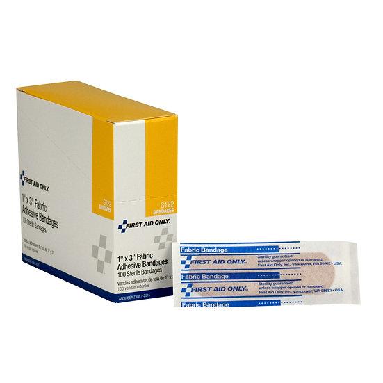 1 inchx3 inch Fabric Bandages, 100/box