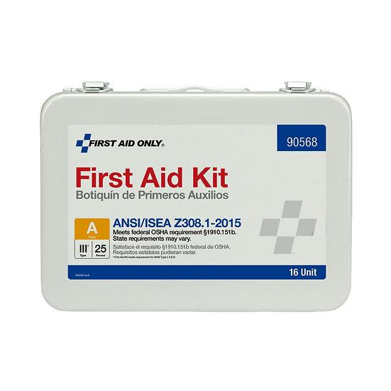 16 Unit ANSI A First Aid Kit, Steel, Weatherproof 90568
