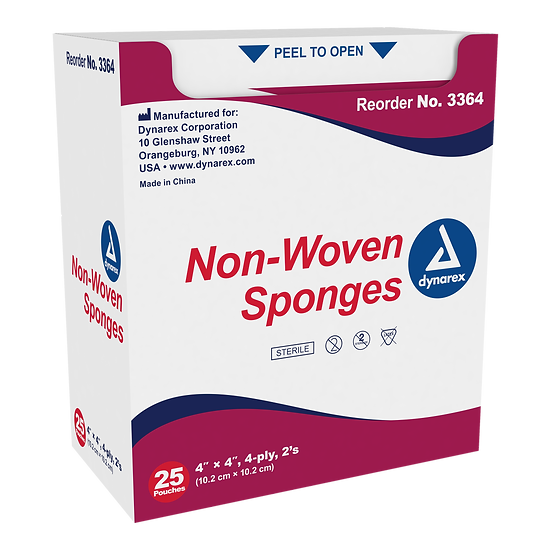 "Non-Woven Sponge Sterile 2's, 4""x 4"" 4 Ply 25 Pack"