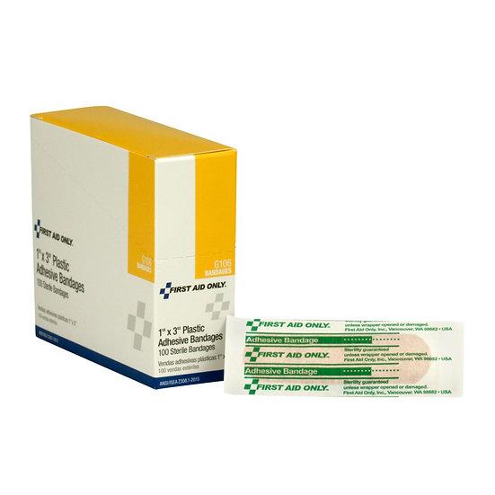 1inchx3inch Plastic Bandages, 100/box