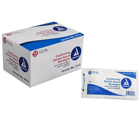 """Stretch Gauze Bandage Roll - 3"""", Sterile 12-Pack"""