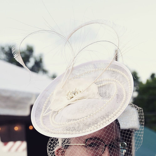 Pearl and Ivory Fascinator with Birdcage Veil