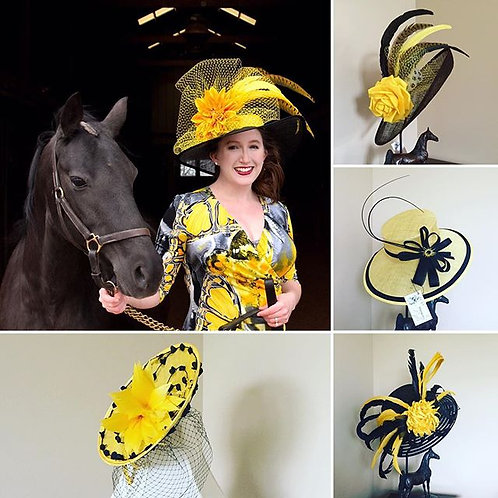Black and Gold Sinamay Hat with Yellow Accents