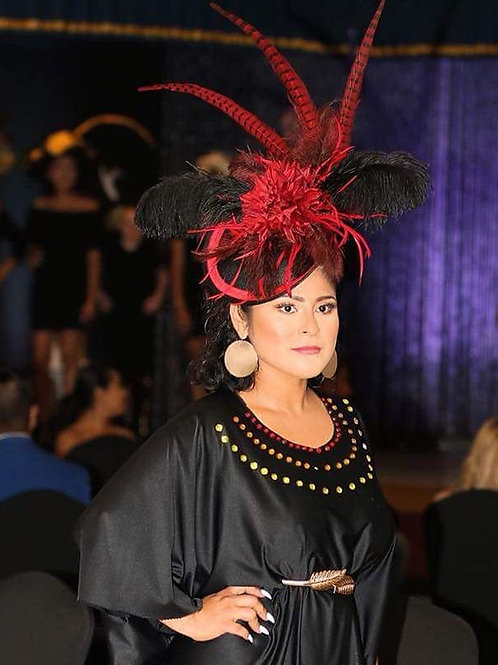 Black Disc Fascinator with Red Pheasant Accents