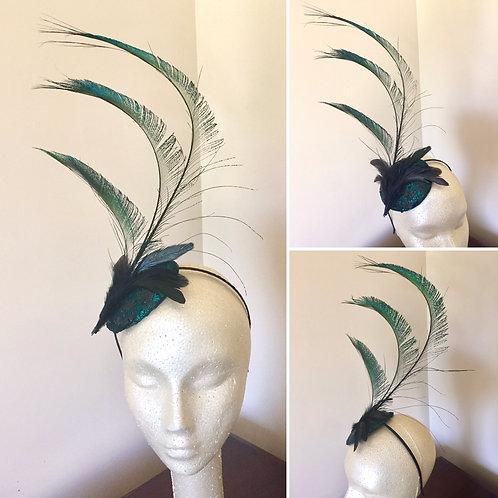 Dark Green Sequin and Sword Feathers Fascinator