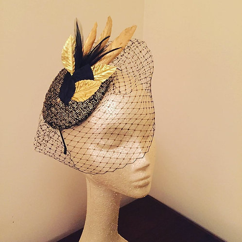 Black and Gold Art Deco Fascinator