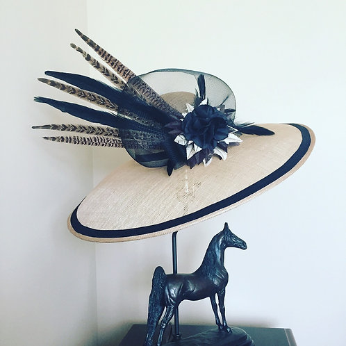 Taupe Sinamay Hat with Pheasant Feathers