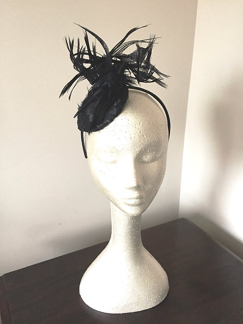 Black Sequin Cocktail Fascinator with Lady Amhearst Feathers