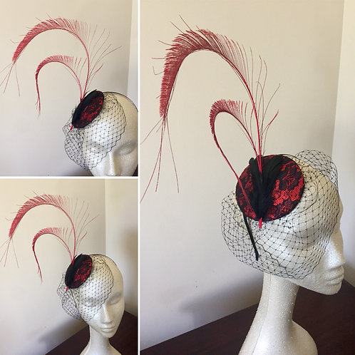 Red and Black Lace Fascinator with Birdcage Veil