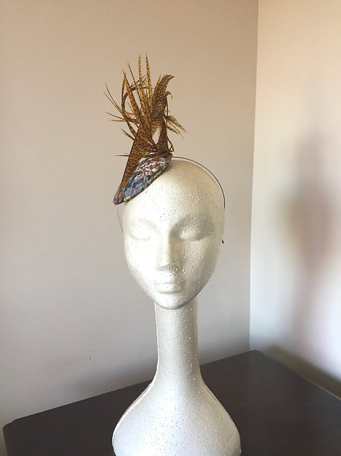 Gold and Silver Grey Brocade Fascinator with Lady Amhearst Feather