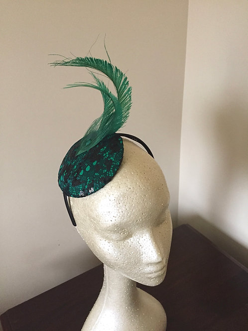 Green Sequin Lace Fascinator with Peacock Swords