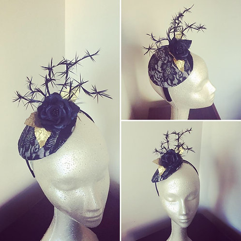 Black and Gold Lace Firework Fascinator