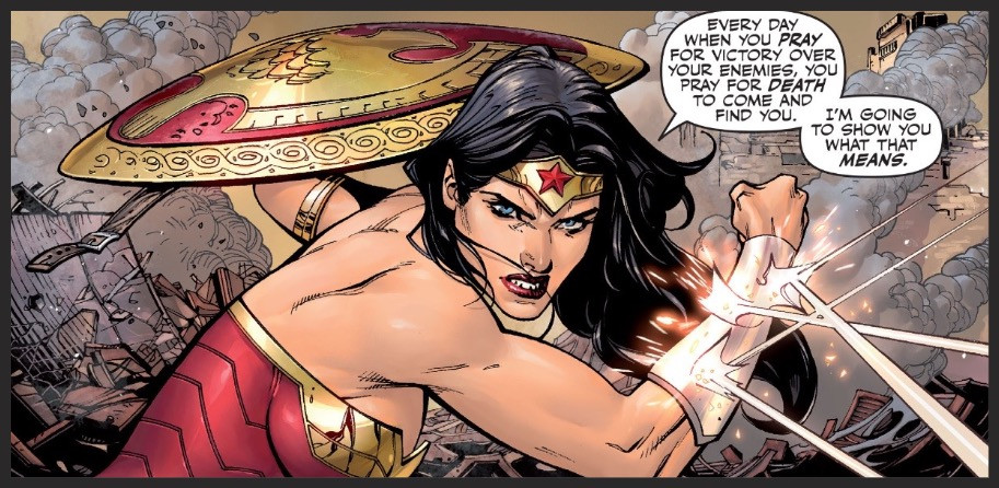 "Wonder Woman takes on a threat from below in the premiere issue of ""Justice League"" out now."