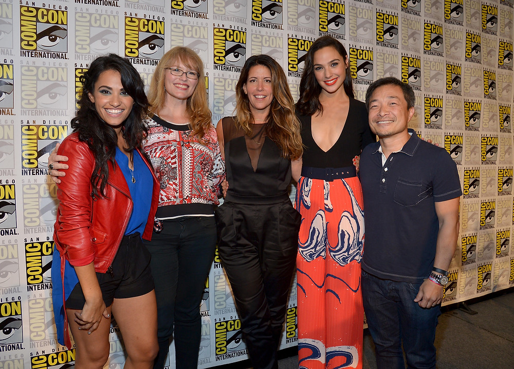 Left-Right: DC All Access Host Tiffany Smith, Wonder Woman artist Nicola Scott, Wonder Woman Director Patty Jenkins, Wonder Woman Actress Gal Gadot and DCE Co-Publisher Jim Lee