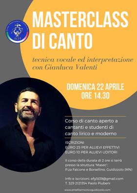 Domenica 22 aprile 2018: Masterclass di canto con Gianluca Valenti