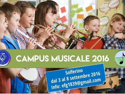 Dal 3 settembre 2016: CAMPUS MUSICALE 2016