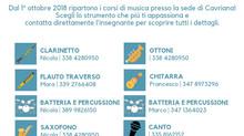 Corsi di musica 2018/2019 anche a Cavriana, Volta Mantovana e Solferino