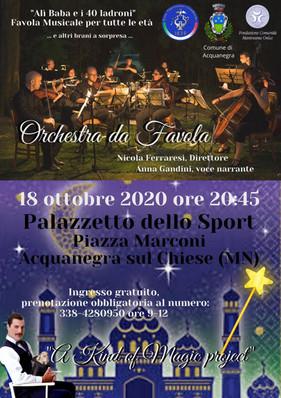 """Domenica 18 ottobre 2020: Orchestra Sinfonica dei Colli Morenici ad Acquanegra """"Orchestra da Favola"""""""