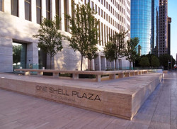 One Shell Plaza after improvements of base stone-slabs with signage - April 2014 pic