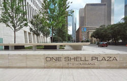 One Shell Plaza - sidewalk level - North side of block looking South on Smith Street 2014-07-04 stre