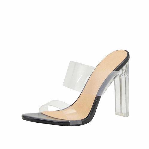 Clear Black Heels