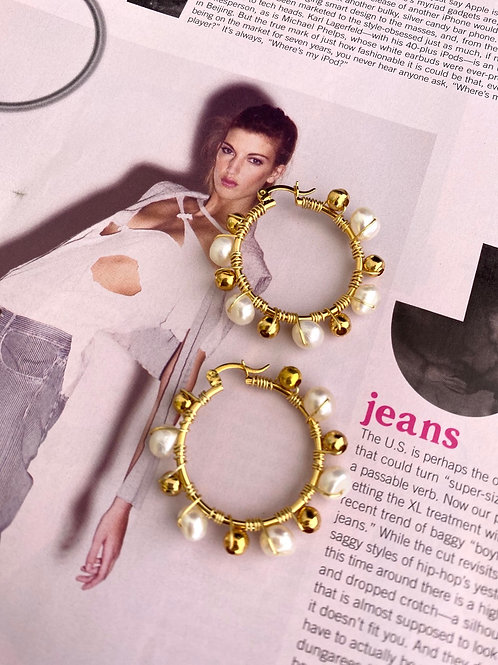 EBA Pearl Hoops Earrings
