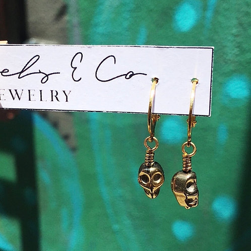 Tassels & Co Gold Skull Earrings