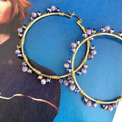 EBA Purple Bead Hoop Earrings