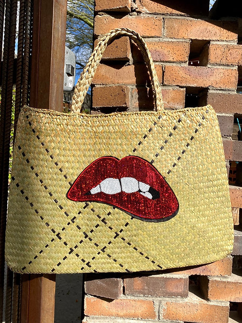 Lips Staw Beach Bag