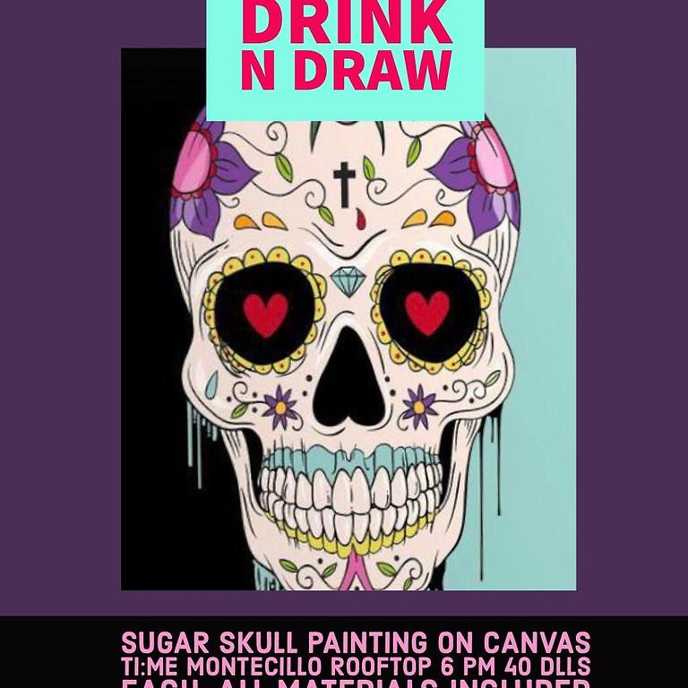 Skull on Canvas Dia de los muertos