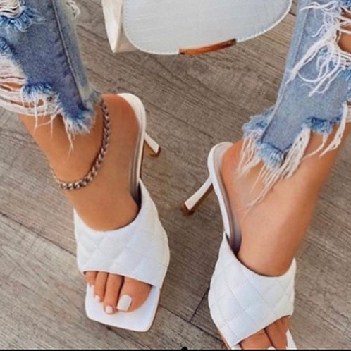 Quilted Mules White