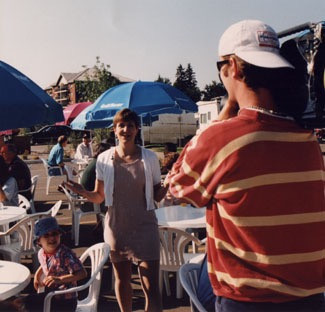 Communications Instructor Barbara May gets to work while shooting an ACCESS television series entitled May We Talk at the St. Albert Farmers' Market. May said people need to focus on their message in a fast-paced world.