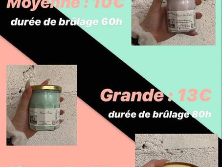 """""""Bougies de Charroux"""" Parfums disponibles."""