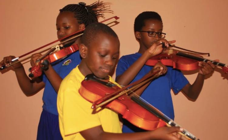 Students practicing violin