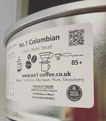 No.1 Colombian Swiss Water Decaf Coffee Beans 100g