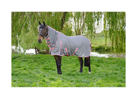 Hy Protect Full Neck Fly Rug Grey/Coral