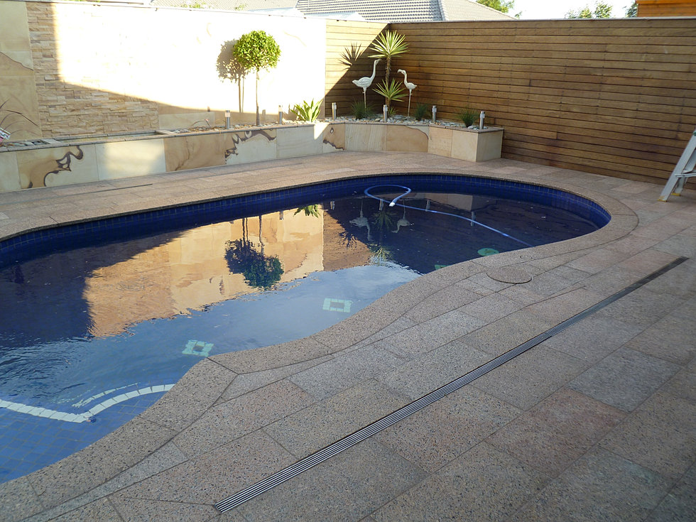 Pool pavers benchtops supplier in melbourne hl stone world chocolate brown for Swimming pool display centres melbourne