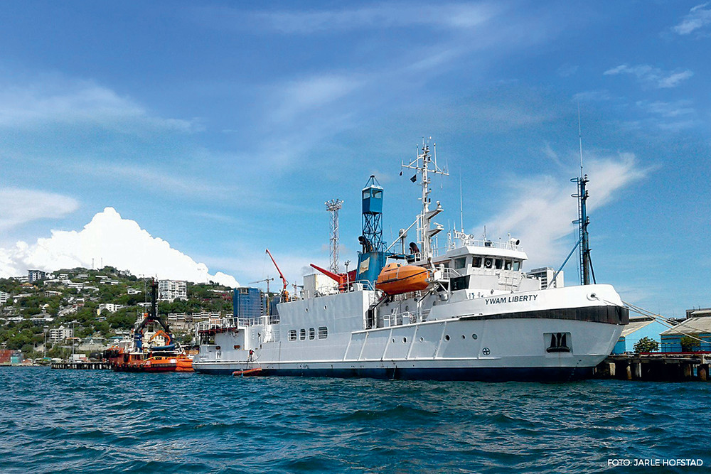 MV YWAM Liberty tjente mange år franske myndigheter som isbryter og forskningsskip, for en fransk forskningsstasjon i Antarktis.