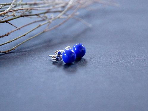 Ohrstecker dunkelblau undurchsichtig
