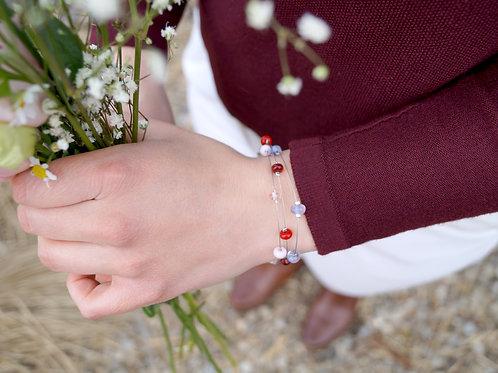 "Armband ""Konfetti"" in Rot und Rosa"