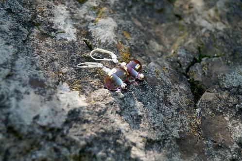 Ohrhänger pink-aqua mit Blattgold
