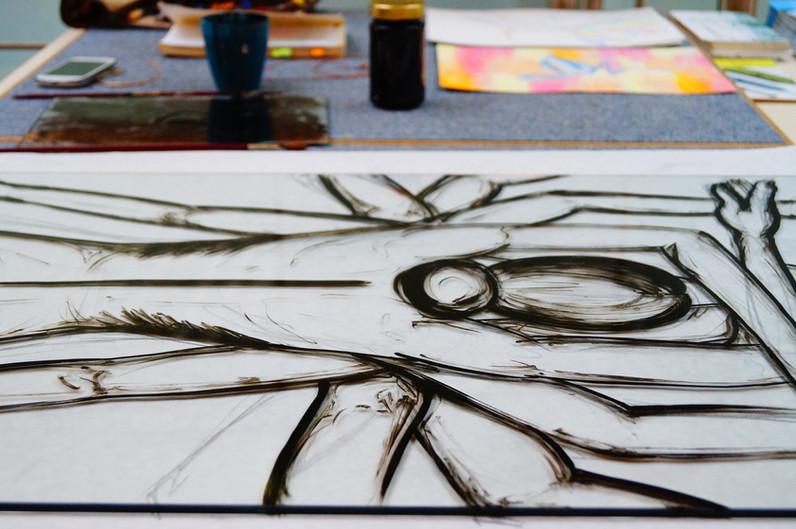 Skizze auf Glas